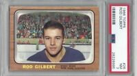 1966 Topps hockey card #26 Rod Gilbert New York Rangers graded PSA 7 NM