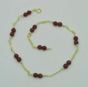 New Exquisite 14K Solid Gold 4mm Natural Ruby Beaded Anklet bracelet 9- 10''