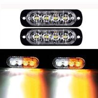 2x 4 LED White+Yellow Emergency Hazard Warning Strobe Flashing Light 12V-24V DC