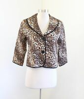 White House Black Market 3/4 Sleeve Leopard Print Blazer Jacket Sz 4 Brown Black