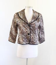 White House Black Market 3/4 Sleeve Leopard Print Blazer Jacket Sz 4 Brown Black