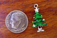 Vintage silver MERRY CHRISTMAS TREE ORNAMENTS STAR ENAMEL HOLIDAY charm 3.93G
