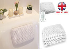 LUXURY WHITE RELAXING SPONGY CUSHIONED BATH SPA PILLOW HEAD NECK RELAX BATHROOM