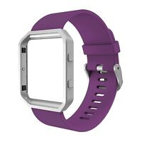 For Fitbit Blaze Band, Simpeak Silicone Replacement Band w/Black Frame Case, US