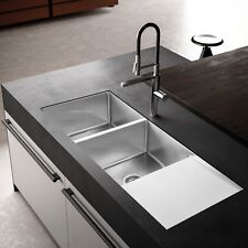 Handmade Stainless Steel Kitchen Sink Double Bowls with Drainer (111cmx45cm)