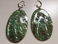 unique nature's beauty free postage Shell earrings green with iridescent streaks