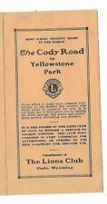 1930's Tourist Leaflet Cody Road To Yellowstone Park Scenic Route Lions Club