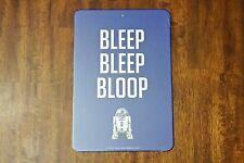 """New Disney Star Wars R2-D2 Bleep Bleep Bloop 8.5"""" x 12.5"""" Wall / Door Sign"""