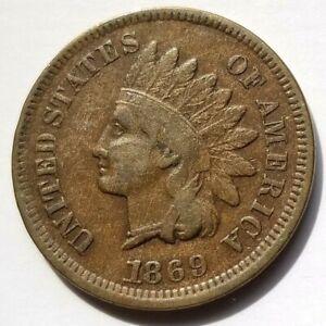 1869 INDIAN HEAD PENNY KEY DATE BEAUTIFUL FINE ORIGINAL COIN NICE!