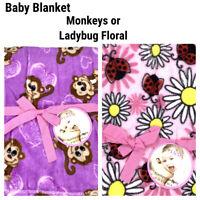 New Baby Toddler Kids Blanket Plush Fleece Monkey Hearts Ladybug Floral Flowers