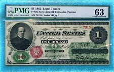1862 Fr #16c 63 Net US Currency $1 Legal Tender Large size note Unc Uncirculated