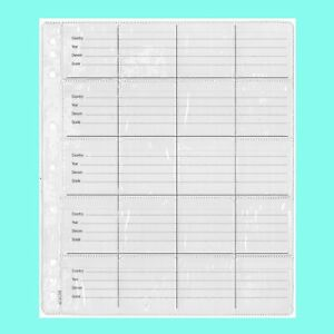 Plastic Coin Pages/Refills 20 Pockets With Backing Paper Pack/5 For Au Crowns