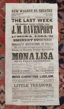 *WALNUT STREET THEATRE 1858 BROADSIDE MONA LISA DA VINCI'S MASTERPIECE*