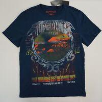 Buffalo David Bitton Mens Tee Crew Neck Graphic Print T Shirt Indigo Blue M