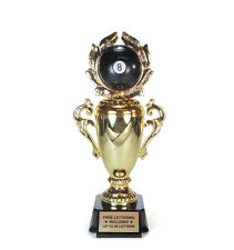 8 Ball Cup Trophy- Billiards- Pool- Custom- Desktop Series- Free Lettering