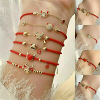 Best Wish Crystal OX Lucky Red Rope Bangle Bracelet Adjustable Jewelry Gift ~