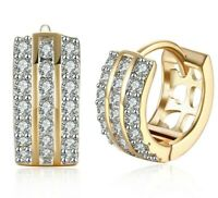 18K Yellow Gold 3 Row Pave Huggie Earrings made with Swarovski Crystal ITALY