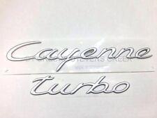 Porsche Cayenne Turbo Emblem Insignia Logo OEM Satin Aluminum Finish