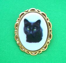 Cats Porcelain BLACK CAT CAMEO Costume Jewelry Pin Brooch Pendant Birthday Gift