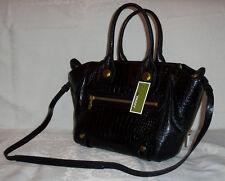orYANY Croco Embossed Leather Megan Medium Satchel CR004 Black