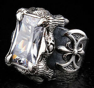 GOTHIC CLAW 925 STERLING SILVER MEDIEVAL RING Sz 13 NEW HEAVY BIKER ROCKER MENS