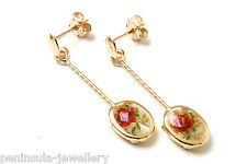 9ct Gold Mother of Pearl Rose Oval Drop Earrings Gift Boxed