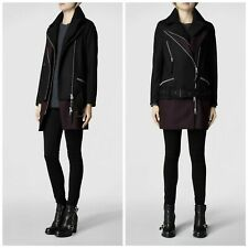 Ladies All Saints Holt Biker Coat Size UK 10 Black Oxblood Wool Longline Jacket