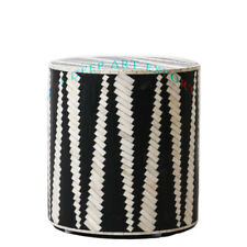 Handmade Bone Inlay Antique Round Wooden Side Table Stool