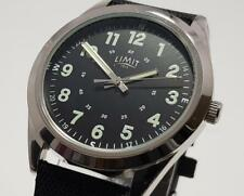 Men's Aviator Pilot Watch By Limit Black Texture Nylon Style Silver Tone Case