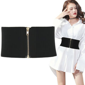 Fashion Elastic Cloth Wide Waist Belt Stretch Zips Waistband