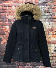 Hollister Women's Faux Fur Trim Hooded Winter Coat Parka Jacket Navy Sz XS