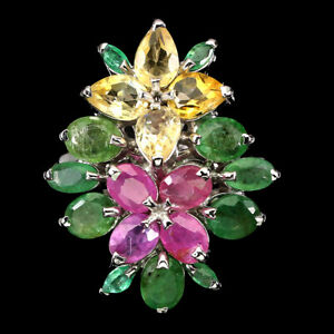 Unheated Pear Citrine Emerald Ruby 925 Sterling Silver Ring Size 9