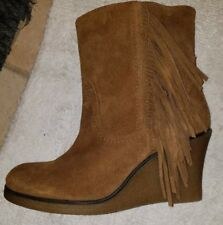 Charles David Brown Fringed Suede wedge Booties ankle booties NEW 39 US 9