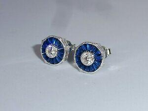 Ladies Art Deco Halo Design 925 Sterling Silver Blue & White Sapphire Earrings
