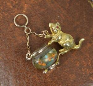 Rare Novelty 9ct Rose Gold and Glass Cat and Fish in Bowl Charm Pendant