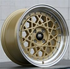 (4) MST MT21 15X8 4X100 GOLD WHEELS HONDA CIVIC INTEGRA SCION XB MAZDA MAITA