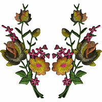 Pair of Rose Flower Patches Iron Sew On Flowers Embroidered Patch Badge Crafts