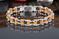 bracelet chaine de vélo / moto acier inoxydable bijou mode taille 22 cm L 10mm