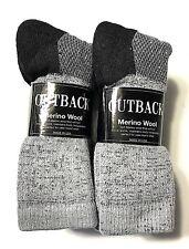 3 or 6 Pair ELLIS Gray w/ Black Bottom Men's Merino Wool Thermal Sock Size10-13