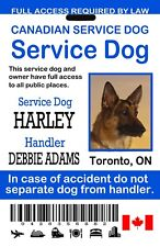 Canadian Service Dog ID Card, Card for Canada Service Dog, Blue and White Card