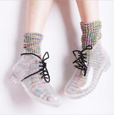 Womens Transparent Ladies Galoshes Lace Up Rain Ankle Boots Waterproof Rainshoes