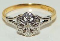 VINTAGE 18CT YELLOW GOLD PLATINUM  DIAMOND DAISY  CLUSTER ENGAGEMENT  RING
