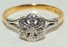 18CT 18 CARAT YELLOW GOLD 0.25CT DIAMOND CLUSTER ENGAGEMENT RING Size O