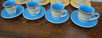 Set of 4 Whittard espresso coffee cups & saucers, rainbow stripe blue