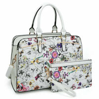 Women 2 Pcs Handbag Faux Leather Shoulder Bag Handbag Satchel w/ Purse Wallet