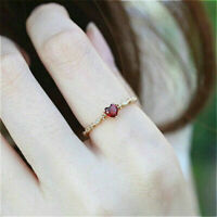 Fashion Women 14K Gold-Plated Heart-Shaped Ruby Diamond Eing Exquisite Ring