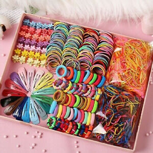 870*/Set Candy Color Hair Clips Rope Ponytail Holder Girls Kids Hair Accessories