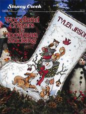 STONEY CREEK Cross Stitch Pattern Leaflet WOODLAND CRITTERS & SNOWMAN Stocking