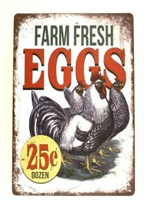 Farm Fresh Eggs Tin Poster Sign Vintage Style Country Kitchen Home Market Shop 4