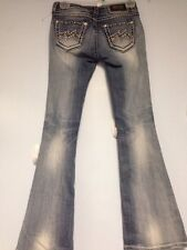 Miss Me Jeans Size 26 Je1050fl Flare Destroyed Look Buckle Destroyed Look Bling